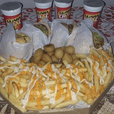 cx 4 x tudo,20 salgados,fritas c cheddar e catupiry 4 crac gratis