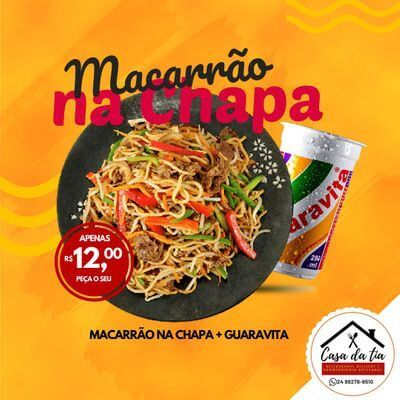 Promoção: Macarrão na Chapa + Guaravita