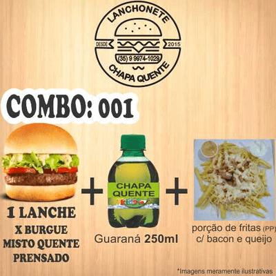 COMBO: 001 (1 Lanche + Guaraná 250ml  + Porção de Fritas PP)