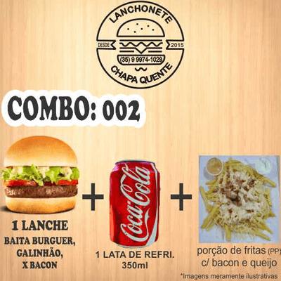 Combos: COMBO: 002 (1 Lanche + Refrigerante Lata 350ml + Porção de Fritas PP)