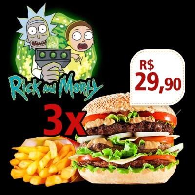 Promoção: 3 Rich And Morty + Fritas 200 Gr + 1 Adicional Grátis Em Cada + Frase personalizada