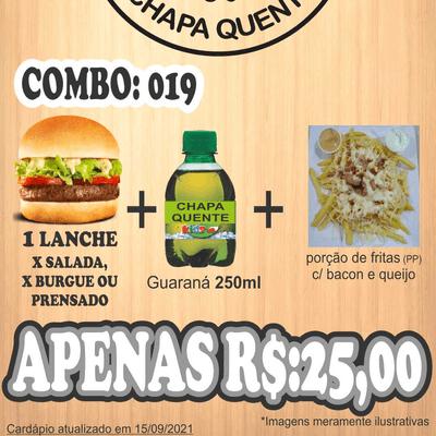 Combos: COMBO 019: 1 Lanche + Guaraná 250ml + Porção Fritas PP