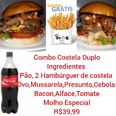 Combo Costela Duplo - 2 Sanduíches + Coca Cola 1L + Batata Frita