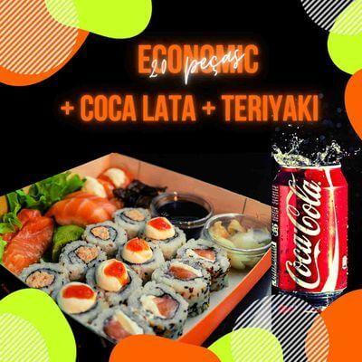 Economic (20 peças) + Coca-cola Lata + Teriyaki