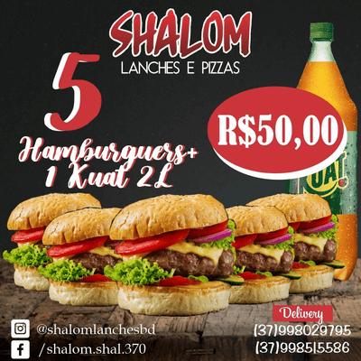 Combos: 5 Hambúrgueres + 1 Refrigerante Kuat 2L