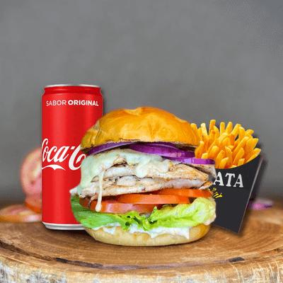 Chicken Burger + Refri Lata + Fritas