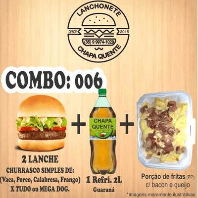 COMBO: 006 (2 Lanches + Refrigerante 2L + Porção de Fritas PP)