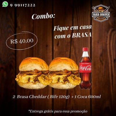 Combos: 2 Brasa Cheddar Bife 120g + Coca Cola 600ml