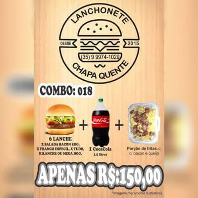 COMBO: 018 (6 Lanches + Refrigerante 2,5L + Porção de Fritas G)
