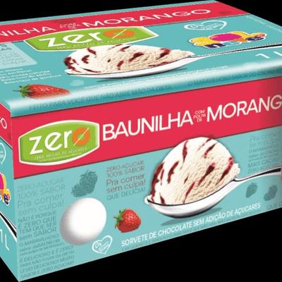 Pote Zero Baunilha com Morango - 1L