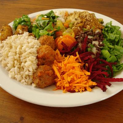Vegetariano I( Arroz, purê, ovo cozido, legumes, folhas diversas