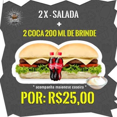 Combos Promocionais: 2 X-Salada + 2 Coca-Cola's 200ml