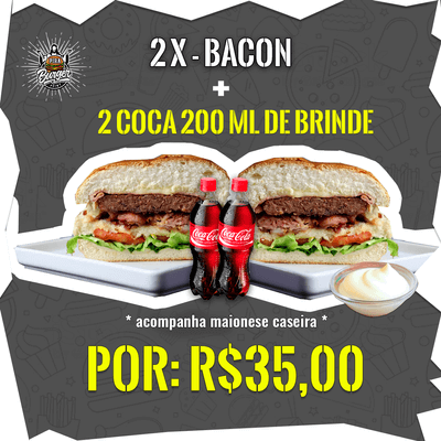 2 X-Bacon + 2 Coca-Cola's 200ml