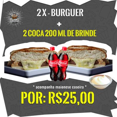2 X-Burguer + 2 Coca-Cola's 200ml