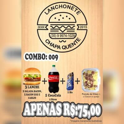 COMBO: 009 (3 Lanches + Coca Cola 2L + 1 Bis + Porção de Fritas P)