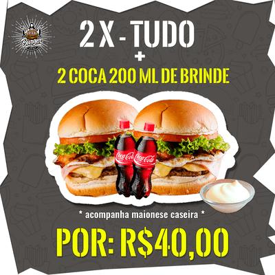 Combos Promocionais: 2 X-Tudo + 2 Coca-Cola's 200ml