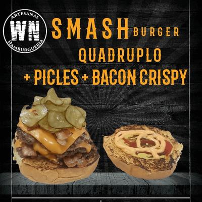 Smash Quádruplo com Bacon Crispy e Picles