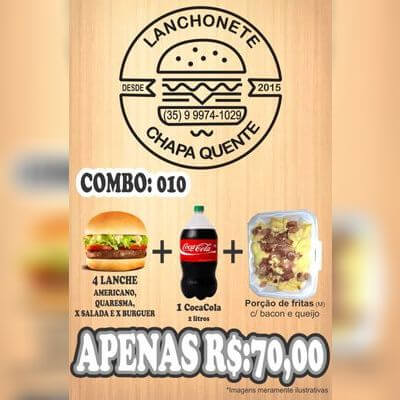 COMBO: 010 (4 Lanches + Coca Cola 2L + Porção de Fritas M)
