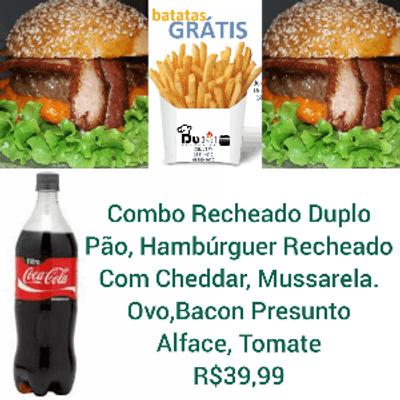 Combo Recheado Duplo - 2 Sanduíches + Coca Cola 1L + Batata Frita