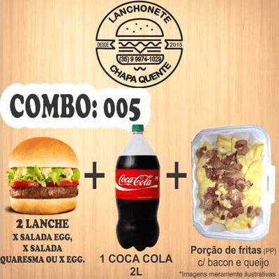 COMBO: 005 (2 Lanches + Coca Cola 2L + Porção de Fritas PP)