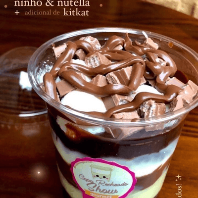 Copo Recheado Ninho com nutella + adicional kitkat 400 ml