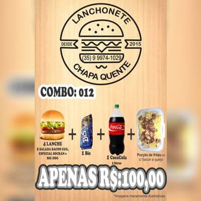 COMBO: 012 (4 Lanches + Coca Cola 2L + Bis + Porção de Fritas M)