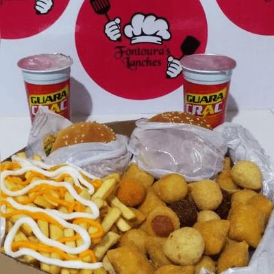 2 X-Tudo + Fritas + Salgados