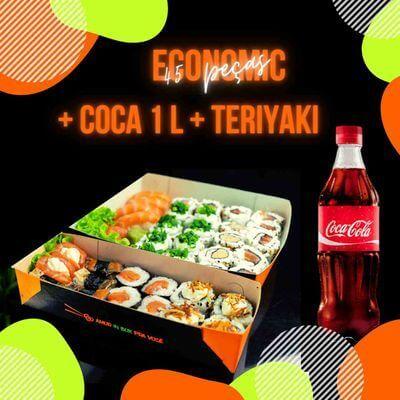 Economic (45 peças) + Coca-cola 1L + Teriyaki