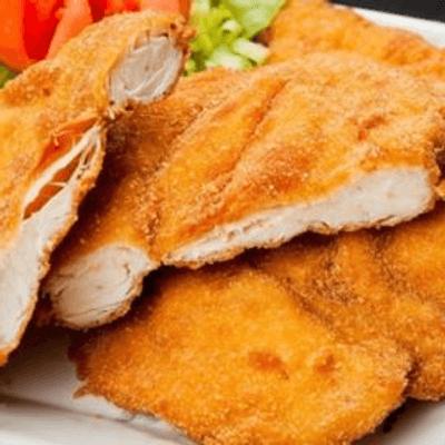 frango empanado (arroz, feijão, frango, batata frita)