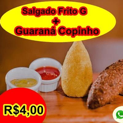 Enroladinho de salsicha + guaraná copinho