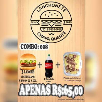 COMBO: 008 (3 Lanches + Refrigerante 2L + Porção de Fritas P)