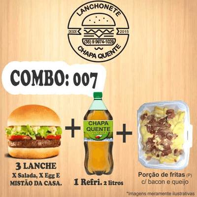 COMBO: 007 (3 Lanches + Refrigerante 2L + Porção de Fritas P)