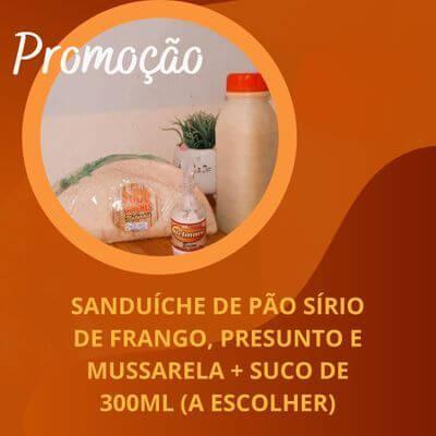 Promoção: Sanduíche de Pão Sírio+ Suco 300ml + Sachê de Maionese Sabor Bacon