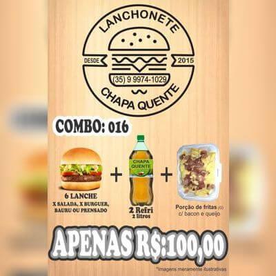 COMBO: 016 (6 Lanches + 2 Guaraná 2L + Porção de Fritas G)