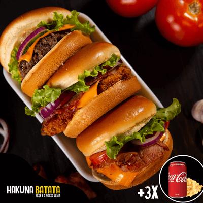 Super Combo - 3 burgers + 3 bebidas + 3 batatas grátis