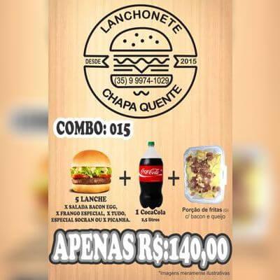 COMBO: 015 (5 Lanches + Coca Cola 2,5L + Porção de Fritas G)