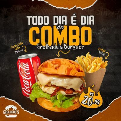 Combos: Grelhadu's Burguer  + Fritas 150g + Coca Cola 350ml