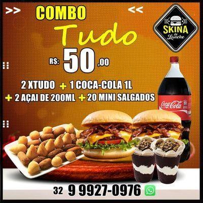 Combos: 2 X-Tudo + Coca Cola 1L + 2 Açaí 200ml + 30 Mini Salgados