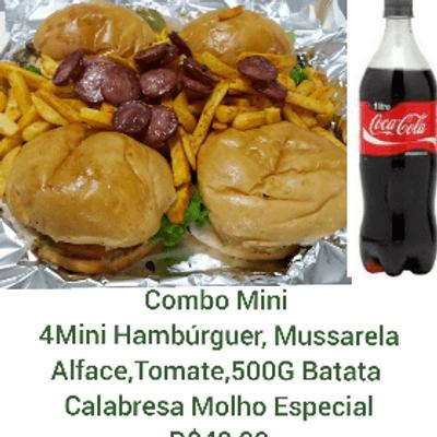 Combo Mini - 4 Hambúrgueres + Coca Cola 1L