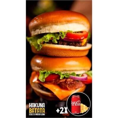Super Combo - 2 Burgers + 2 Bebidas + Batata Grátis