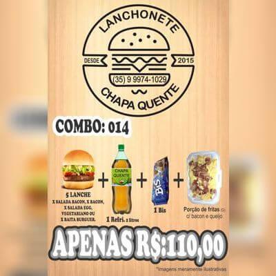 COMBO: 014 (5 Lanches + Refrigerante 2L + Bis + Porção de Fritas G)