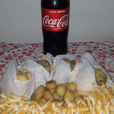 4 X-Tudo fritas, 20 salgadinhos cheddar e catupiry e 1 coca cola 2