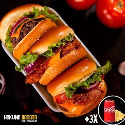 Super Combo - 3 Burgers + 3 Bebidas + Batata Grátis
