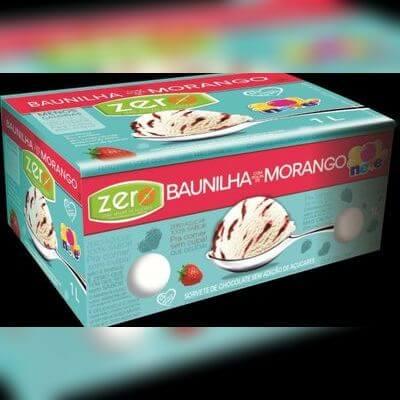 Sorvete Zero Açúcar de Baunilha com Polpa de Morango