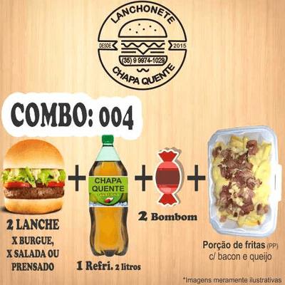 Combos: COMBO: 004 (2 Lanches + 1 Refrigerante 2L + 2 Bombons + Porção de Fritas PP)