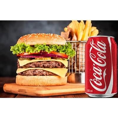 Burguer Duplo + Fritas + Coca Cola 310ml