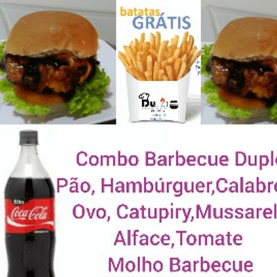 Combo Barbecue Duplo - 2 Sanduíches + Coca Cola 1L + Batata Frita