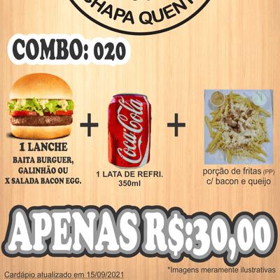 Combos: COMBO 020: 1 Lanche + 1 Refri 350ml + Porção Fritas