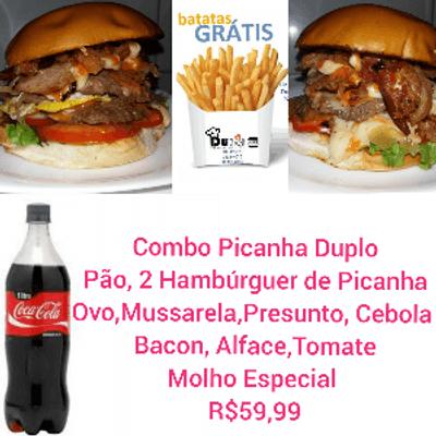 Combo Picanha Duplo - 2 Sanduíches + Coca Cola 1L