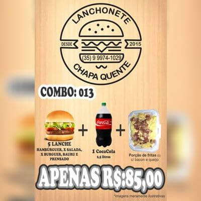 COMBO: 013 (5 Lanches + Coca Cola 2,5L + Porção de Fritas G)